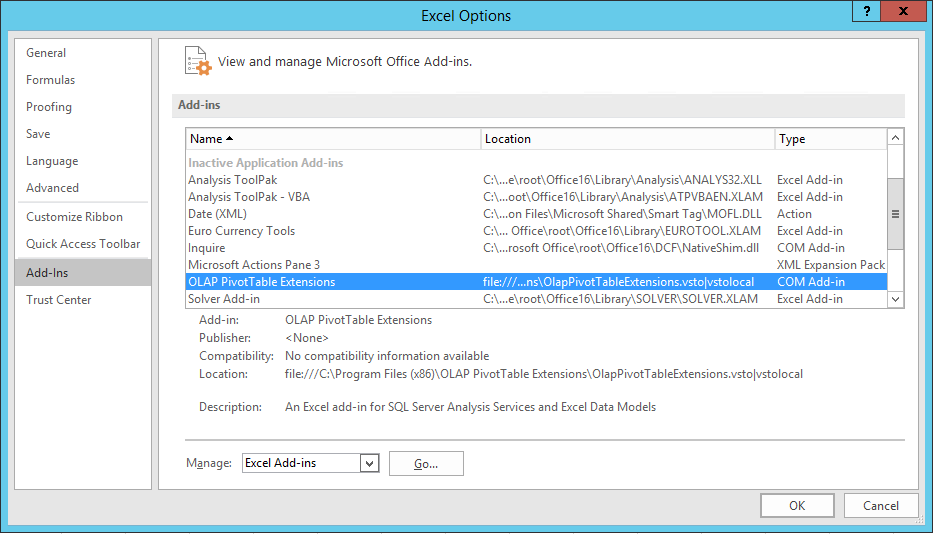 Troubleshooting Installation | OLAP PivotTable Extensions